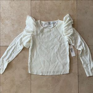 NWT Sofia Ruffle Sweater - Ivory